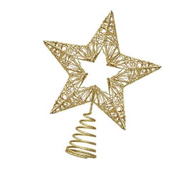 Weihnachtsbaumspitze, Weihnachtsbaum Christbaumspitze Stern Glitzer Metall Baum Stern Weihnachtsbaum Stern Topper Weihnachtsbaumspitze Glitzernder, Beleuchtete Sterne, Weihnachtsbaumspitze Dekoration - 4