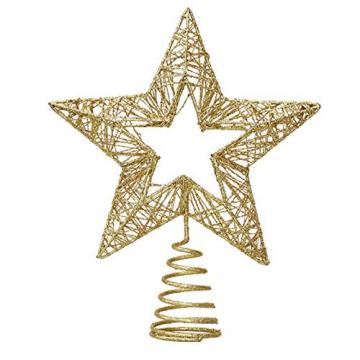 Weihnachtsbaumspitze, Weihnachtsbaum Christbaumspitze Stern Glitzer Metall Baum Stern Weihnachtsbaum Stern Topper Weihnachtsbaumspitze Glitzernder, Beleuchtete Sterne, Weihnachtsbaumspitze Dekoration - 1