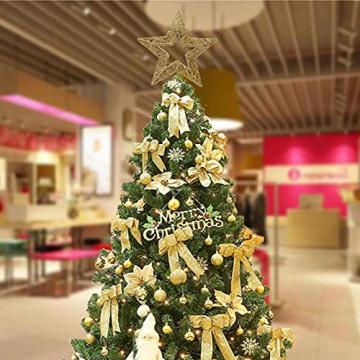 Weihnachtsbaumspitze, Weihnachtsbaum Christbaumspitze Stern Glitzer Metall Baum Stern Weihnachtsbaum Stern Topper Weihnachtsbaumspitze Glitzernder, Beleuchtete Sterne, Weihnachtsbaumspitze Dekoration - 5