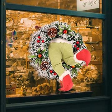 Weihnachtsgirlande, Türkranz Herbst,Weihnachtsdieb Stahl Weihnachts-Sackleinen-Kranz, Adventskranz,Wie der Grinch Weihnachts-Sackleinen-Kranz Stahl, für Wohnzimmer Wandfenster (B-16 Zoll) - 2
