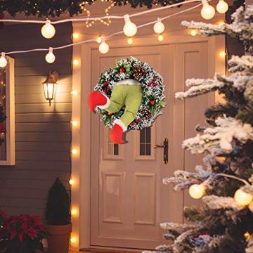 Weihnachtsgirlande, Türkranz Herbst,Weihnachtsdieb Stahl Weihnachts-Sackleinen-Kranz, Adventskranz,Wie der Grinch Weihnachts-Sackleinen-Kranz Stahl, für Wohnzimmer Wandfenster (B-16 Zoll) - 3