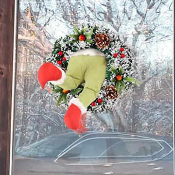 Weihnachtsgirlande, Türkranz Herbst,Weihnachtsdieb Stahl Weihnachts-Sackleinen-Kranz, Adventskranz,Wie der Grinch Weihnachts-Sackleinen-Kranz Stahl, für Wohnzimmer Wandfenster (B-16 Zoll) - 5