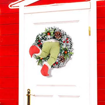 Weihnachtsgirlande, Türkranz Herbst,Weihnachtsdieb Stahl Weihnachts-Sackleinen-Kranz, Adventskranz,Wie der Grinch Weihnachts-Sackleinen-Kranz Stahl, für Wohnzimmer Wandfenster (B-16 Zoll) - 6