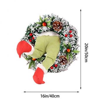 Weihnachtsgirlande, Türkranz Herbst,Weihnachtsdieb Stahl Weihnachts-Sackleinen-Kranz, Adventskranz,Wie der Grinch Weihnachts-Sackleinen-Kranz Stahl, für Wohnzimmer Wandfenster (B-16 Zoll) - 7