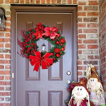 Weihnachtskranz Tür außen Deko 38CM,Weihnachtsmann Türkranz Adventskranz Schneemann Weihnachten Kranz Dekokranz Hängende Wand Verzierung Weihnachtskugelnkranz Fenster Dekoration Weihnachts Zubehör - 2