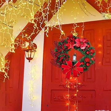 Weihnachtskranz Tür außen Deko 38CM,Weihnachtsmann Türkranz Adventskranz Schneemann Weihnachten Kranz Dekokranz Hängende Wand Verzierung Weihnachtskugelnkranz Fenster Dekoration Weihnachts Zubehör - 7