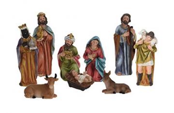 Weihnachtskrippe Figuren Set 9-teilig - Weihnachtsdekoration Krippenfiguren Krippenzubehör Krippe Figur - 1