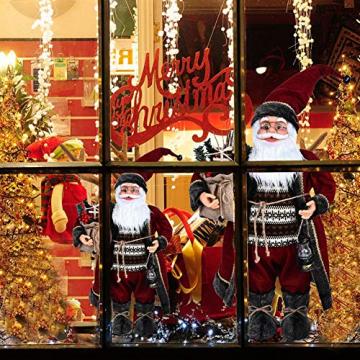 Weihnachtsmann Figurenpuppe 30/45cm Weihnachtsfigur Weihnachtsdeko Weihnachtsschmuck, Roten Robe-Verzierung, Weihnachten für Kinderfamilie und Freunde - 2