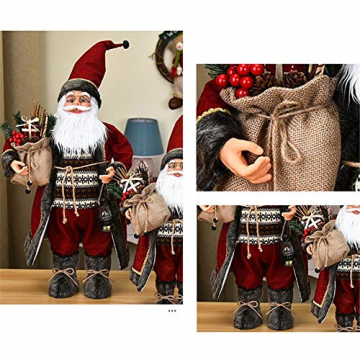 Weihnachtsmann Figurenpuppe 30/45cm Weihnachtsfigur Weihnachtsdeko Weihnachtsschmuck, Roten Robe-Verzierung, Weihnachten für Kinderfamilie und Freunde - 4