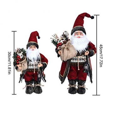 Weihnachtsmann Figurenpuppe 30/45cm Weihnachtsfigur Weihnachtsdeko Weihnachtsschmuck, Roten Robe-Verzierung, Weihnachten für Kinderfamilie und Freunde - 7