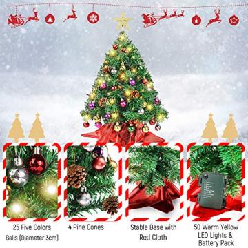 Wesimplelife 60cm Mini Weihnachtsbaum Künstlicher Tannenbaum Xmas Pine Tree mit Weihnachtsdeko 50 LED Beleuchtung Tannenzapfen 25 Balls Baumspitze für Zuhause und im Büro - 3