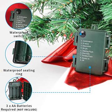 Wesimplelife 60cm Mini Weihnachtsbaum Künstlicher Tannenbaum Xmas Pine Tree mit Weihnachtsdeko 50 LED Beleuchtung Tannenzapfen 25 Balls Baumspitze für Zuhause und im Büro - 4