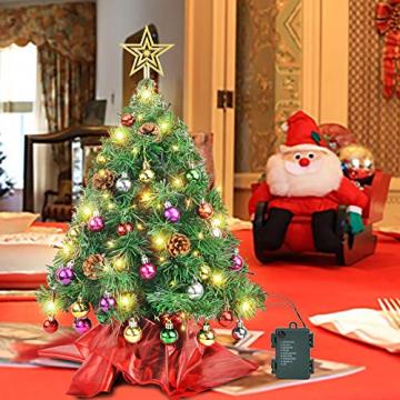 Wesimplelife 60cm Mini Weihnachtsbaum Künstlicher Tannenbaum Xmas Pine Tree mit Weihnachtsdeko 50 LED Beleuchtung Tannenzapfen 25 Balls Baumspitze für Zuhause und im Büro - 5