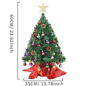 Wesimplelife 60cm Mini Weihnachtsbaum Künstlicher Tannenbaum Xmas Pine Tree mit Weihnachtsdeko 50 LED Beleuchtung Tannenzapfen 25 Balls Baumspitze für Zuhause und im Büro - 6