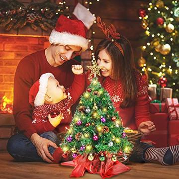 Wesimplelife 60cm Mini Weihnachtsbaum Künstlicher Tannenbaum Xmas Pine Tree mit Weihnachtsdeko 50 LED Beleuchtung Tannenzapfen 25 Balls Baumspitze für Zuhause und im Büro - 7