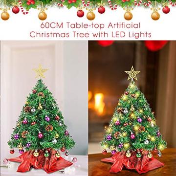 Wesimplelife 60cm Mini Weihnachtsbaum Künstlicher Tannenbaum Xmas Pine Tree mit Weihnachtsdeko 50 LED Beleuchtung Tannenzapfen 25 Balls Baumspitze für Zuhause und im Büro - 8