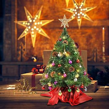 Wesimplelife 60cm Mini Weihnachtsbaum Künstlicher Tannenbaum Xmas Pine Tree mit Weihnachtsdeko 50 LED Beleuchtung Tannenzapfen 25 Balls Baumspitze für Zuhause und im Büro - 9