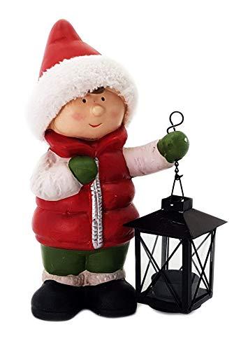 Wichtelstube-Kollektion XL Deko Figur Winterkinder Mädchen Weihnachtsfigur 30cm Tonfigur Weihnachten Gartenfigur - 3