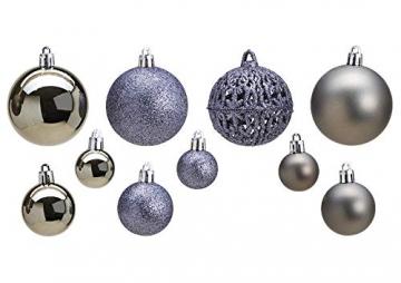 WOMA Christbaumkugeln Set in 14 weihnachtlichen Farben - 50 & 100 Weihnachtskugeln Grau aus Kunststoff - Gold, Silber, Rot & Bronze / Kupfer UVM. - Weihnachtsbaum Deko & Christbaumschmuck - 2