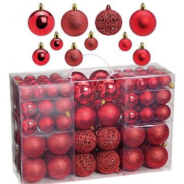 WOMA Christbaumkugeln Set in 14 weihnachtlichen Farben - 50 & 100 Weihnachtskugeln Rot aus Kunststoff - Gold, Silber, Rot & Bronze / Kupfer UVM. - Weihnachtsbaum Deko & Christbaumschmuck - 1