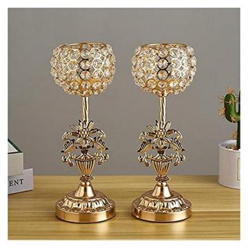 XIAOFANG Goldene Kristalleisen-Kerzenhalters Set für Weihnachten Kerzenständer für Weihnachts-Hochzeits-Partys Geschenk für Freunde - 2