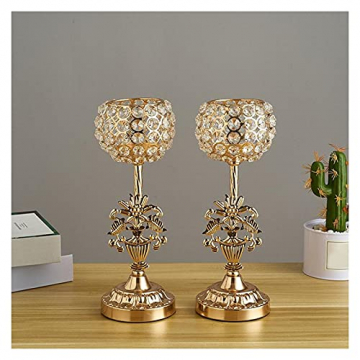 XIAOFANG Goldene Kristalleisen-Kerzenhalters Set für Weihnachten Kerzenständer für Weihnachts-Hochzeits-Partys Geschenk für Freunde - 3