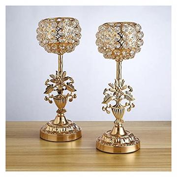 XIAOFANG Goldene Kristalleisen-Kerzenhalters Set für Weihnachten Kerzenständer für Weihnachts-Hochzeits-Partys Geschenk für Freunde - 4
