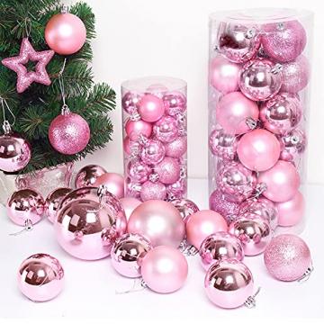 XJRS Weihnachtskugeln Rose Rote Weihnachtsdekorationen Weihnachtskugel Einfach Und Stilvoll Weihnachtsbaumdekorationen Für Dekoration Urlaubsdekoration(Size:6cm,Color:E) - 6