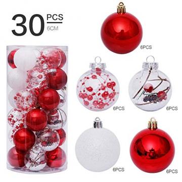 Yehapp Christbaumkugeln Kunststoff Set 30er - Weihnachtskugeln Glitzer Kugeln Ornamente 6CM für Weihnachtsbaum Deko - Rot/Grün/Pink/Gold/Orange/Blau/Weiß - 2