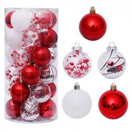 Yehapp Christbaumkugeln Kunststoff Set 30er - Weihnachtskugeln Glitzer Kugeln Ornamente 6CM für Weihnachtsbaum Deko - Rot/Grün/Pink/Gold/Orange/Blau/Weiß - 1