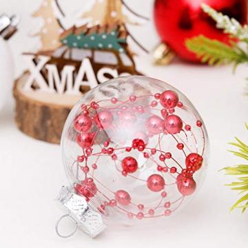 Yehapp Christbaumkugeln Kunststoff Set 30er - Weihnachtskugeln Glitzer Kugeln Ornamente 6CM für Weihnachtsbaum Deko - Rot/Grün/Pink/Gold/Orange/Blau/Weiß - 5