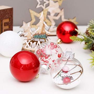 Yehapp Christbaumkugeln Kunststoff Set 30er - Weihnachtskugeln Glitzer Kugeln Ornamente 6CM für Weihnachtsbaum Deko - Rot/Grün/Pink/Gold/Orange/Blau/Weiß - 6