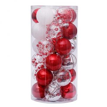 Yehapp Christbaumkugeln Kunststoff Set 30er - Weihnachtskugeln Glitzer Kugeln Ornamente 6CM für Weihnachtsbaum Deko - Rot/Grün/Pink/Gold/Orange/Blau/Weiß - 7