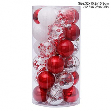 Yehapp Christbaumkugeln Kunststoff Set 30er - Weihnachtskugeln Glitzer Kugeln Ornamente 6CM für Weihnachtsbaum Deko - Rot/Grün/Pink/Gold/Orange/Blau/Weiß - 8