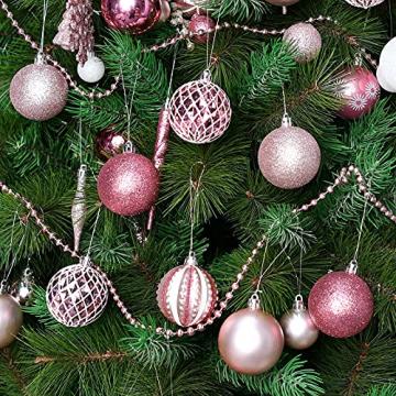 YILEEY Weihnachtskugeln Weihnachtsdeko Set Rosa 88 STK in 19 Farben, Kunststoff Weihnachtsbaumkugeln Box mit Aufhänger Christbaumkugeln Plastik Bruchsicher, Weihnachtsbaumschmuck, MEHRWEG - 5