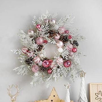 YILEEY Weihnachtskugeln Weihnachtsdeko Set Rosa 88 STK in 19 Farben, Kunststoff Weihnachtsbaumkugeln Box mit Aufhänger Christbaumkugeln Plastik Bruchsicher, Weihnachtsbaumschmuck, MEHRWEG - 6
