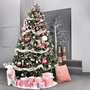 YILEEY Weihnachtskugeln Weihnachtsdeko Set Rosa 88 STK in 19 Farben, Kunststoff Weihnachtsbaumkugeln Box mit Aufhänger Christbaumkugeln Plastik Bruchsicher, Weihnachtsbaumschmuck, MEHRWEG - 7