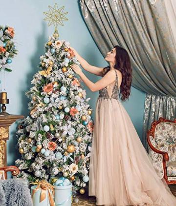 YQing 13.4 Zoll Weihnachten Baumspitze Stern, Christbaumspitze Glitzernden Baumspitze Stern Deko Weihnachten Baumkrone Tree Topper für Weihnachtsbaum Dekoration oder Wohnkultur - 4