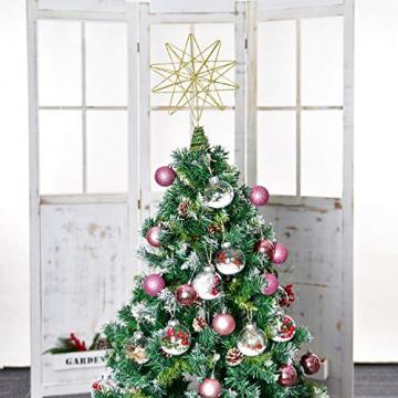 YQing 13.4 Zoll Weihnachten Baumspitze Stern, Christbaumspitze Glitzernden Baumspitze Stern Deko Weihnachten Baumkrone Tree Topper für Weihnachtsbaum Dekoration oder Wohnkultur - 5