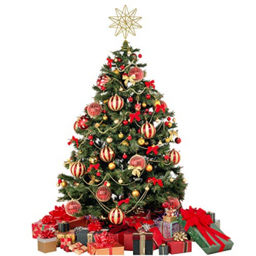 YQing 13.4 Zoll Weihnachten Baumspitze Stern, Christbaumspitze Glitzernden Baumspitze Stern Deko Weihnachten Baumkrone Tree Topper für Weihnachtsbaum Dekoration oder Wohnkultur - 7