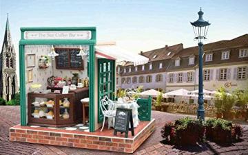 YUACY Puppen Haus Kit,DIY Architektur Modell Architektur MöBel Tasche Led Spieluhr Miniatur HöLzerne Puppe Haus Stern Kaffeebar - 7