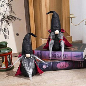 yummyfood 2 Stücke Halloween Wichtel Figuren Plüsch Zwerge Halloween Stofftier Plüschtiere Handgemachtes Weihnachtliche Wichtel Für Halloween Party Dekoration - 3