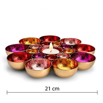 ZEYA Teelichthalter rot rosa orange pinkfarben Ø 21 cm | Deko Wohnzimmer | perfekte Tisch Dekoration für Weihnachten | Metall - 2