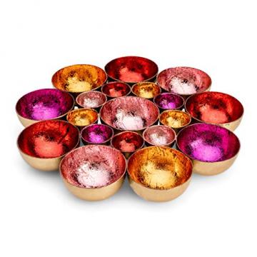 ZEYA Teelichthalter rot rosa orange pinkfarben Ø 21 cm | Deko Wohnzimmer | perfekte Tisch Dekoration für Weihnachten | Metall - 1