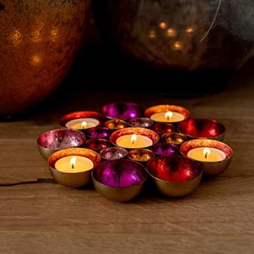 ZEYA Teelichthalter rot rosa orange pinkfarben Ø 21 cm | Deko Wohnzimmer | perfekte Tisch Dekoration für Weihnachten | Metall - 5