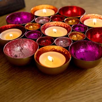 ZEYA Teelichthalter rot rosa orange pinkfarben Ø 21 cm | Deko Wohnzimmer | perfekte Tisch Dekoration für Weihnachten | Metall - 6