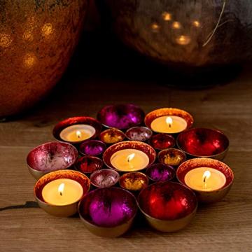 ZEYA Teelichthalter rot rosa orange pinkfarben Ø 21 cm | Deko Wohnzimmer | perfekte Tisch Dekoration für Weihnachten | Metall - 7