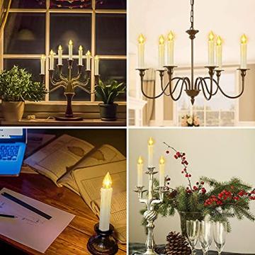 ZIYOUDOLI 10/20/30/40er Kabellose Kerzen LED Weihnachtskerzen mit Fernbedienung Timer Dimmbar,LED Weihnachtskerzen mit Fernbedienung kerzen (40stück) - 3