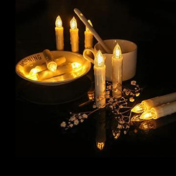 ZIYOUDOLI 10/20/30/40er Kabellose Kerzen LED Weihnachtskerzen mit Fernbedienung Timer Dimmbar,LED Weihnachtskerzen mit Fernbedienung kerzen (40stück) - 5