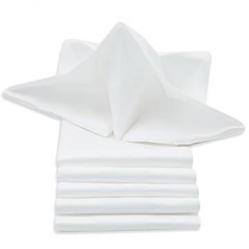 ZOLLNER 6er-Set Damast Stoffservietten, Baumwolle, 40x40 cm, Atlaskante, weiß - 1